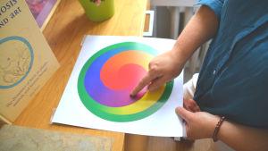 Person håller i ett papper med en cirkel i olika färger, pekar på den lila delen.