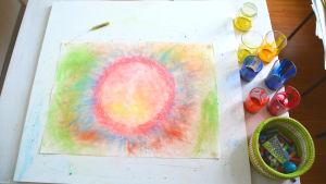 Teckning gjord med färgkritor i ljusa färger med en cirkel i mitten
