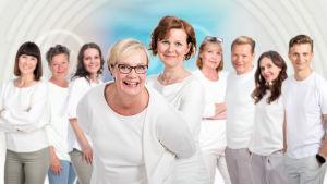 Kuvassa vas. Mira Palo, Tiina Jensen, Maarit Åström-Kupsanen, Hilla Blomberg, Minna Korhonen, Marjo Lundvall, Risto Kuusisto, Liisa Vihmanen ja Tero Kyllönen.