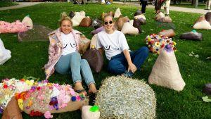 Hundra bröst pryder Gamla kyrkoparken i kväll när Isabella Chydenius och Ellen Rajala ställer ut sitt verk 100 Boobs. Verket är en del av kampanjen Hundra jämställdhetsgärningar.