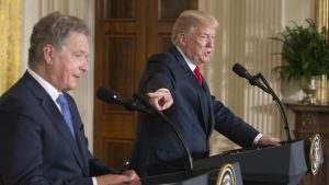 Presidenterna Sauli Niinistö och Dinald Trump