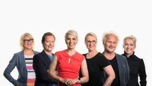 Uutisvuodon uusi kokoonpano: Katja Ståhl, Petteri Ahomaa, Baba Lybeck, Laura Ruohola, Jani Halme ja Anna Perho.