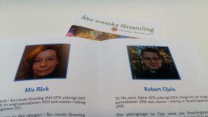I Åbo svenska församlings valbroschyr presenteras kyrkoherdekandidaterna Mia Bäck och Robert Ojala.