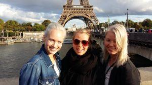Tre norska turister i Paris.