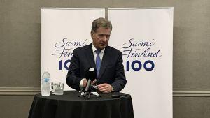 President Sauli Niinistö på presskonferens i Minneapolis