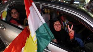 Segervissa kurder jublade i huvudstaden Erbil i norra Irak