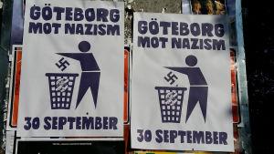 Affischer mot nynazistisk demonstation i Göteborg.
