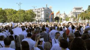 Vitklädda människor har samlats på torget Plaza de Cibeles i Madrid för att demonstrera för en dialog mellan Katalonien och den spanska regeringen.