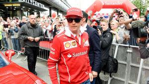 Kimi Räikkönen under ett besök i Helsingfors i augusti.