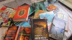 En hög med böcker på ett bord.