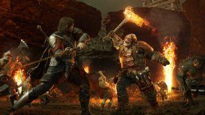 Bild från spelet Shadow of War där två krigare möts på slagfältet