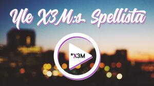 """En suddig stad med texten Yle X3M:s spellista framför. Under texten finns en """"play"""" symbol."""