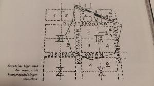 handritad karta över området där nöjesparken Surutoin låg