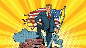 Satirteckning över Donald Trump