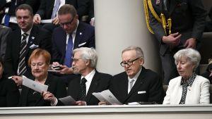 Tarja Halonen, Pertti Arajärvi, Matti Ahtisaari och Tellervo Koivisto var inbjudna till jubileumsplenum 5.12.2017.