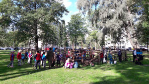 Skolbarn sätter potatis i Kuppis park i Åbo 2017