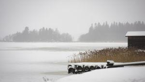 Svaga isar utanför Vasa en grå dag i december.