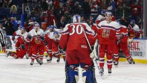 Tjeckien firar sin kvartsfinalseger över Finland.