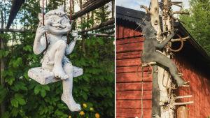 Två statyer på gården till Galleri Gottorp i Kristinestad.