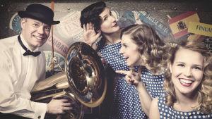 Vintagegruppen Dollypops här med Niklas Andersson på tuba, Marie Lundberg, Sandra Forsell och Katarina Wanamo.