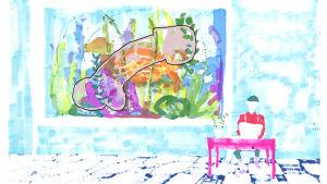 Illustration av en typ som uppdaterar en kuk, abstrakt