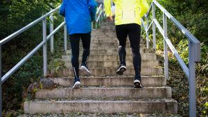 Personer springer upp för trappa