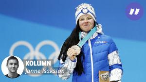Krista Pärmäkoski med OS-bronset.