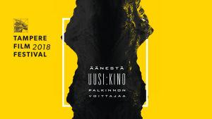 Keltaisella taustalla musta graafinen pinta läpi kuvan. Valkoisella teksti: Äänestä Uusi Kino -palkinnon voittajaa.