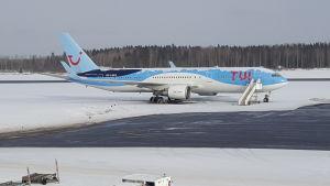 Ett flygplan målat i resebolaget TUI:s färger