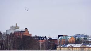 Fyra Hawk-plan över Vasa centrum.