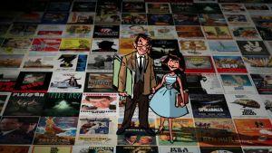 Harold ja Lillian Michelson piirroshahmoina elokuvajulisteiden päällä.