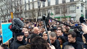 Marine Le Pen på demonstration.