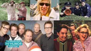 collage av humorprogram på svenska i finlandssvensk tv.