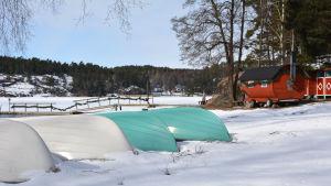 Solliden camping vid Norrbystranden vintertid.