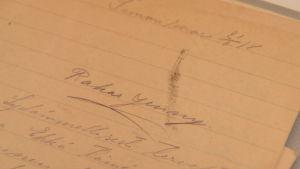 Ett brev från Hugo Enbom till sin fru Jenny då han var i fånglägret i Dragsvik i Ekenäs.