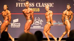 Pontus Reini (andra från vänster) deltog i Fitness Classic 21.4.2018.