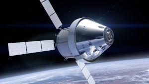 Orionkapseln i rymden, med ESA-tillverkade servicemodulen längst bak. Konstnärens föreställning.