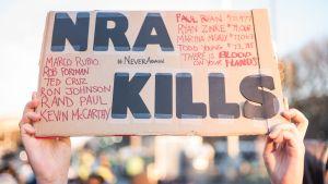 person håller upp skylt där det står NRA KILLS.