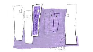Illustration av varg och höghus
