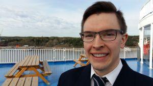 Kapten Mathias Fröberg på m/s Finnswan.
