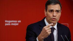 Socialistpartiets ledare Pedro Sánchez under en presskonferens i Madrid den 15 maj.