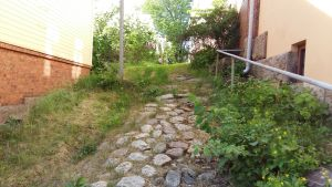 stenig backe upp mot lummig trädgård vid gult hus
