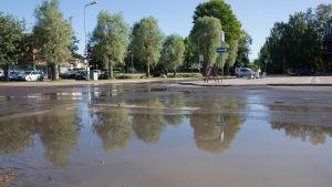 Ett vattenläckage har orsakat stora mängder vatten på en asfalterad väg. I bakgrunden skymtar en byggnad och några träd.