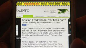 Telefon med text om försvinna Kristian Fredriksson