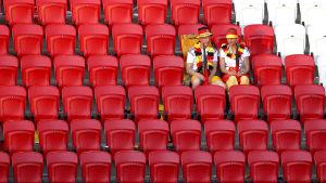 Tyska fotbollsfans efter Tysklands förlust mot Sydkorea i fotbolls-VM 2018.