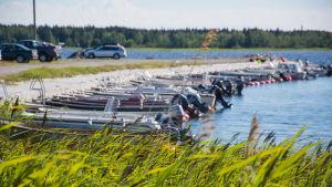 Småbåtar förtöjda vid en brygga.