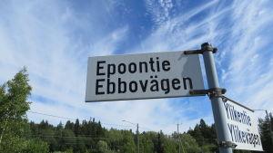 Vägskylt vid Ebbovägen
