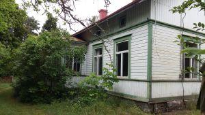 Ett vitt hus med gröna knutar börjar bli övervuxet av syrener.