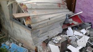 Skador efter självmordsattentat i Sweida i södra Syrien.
