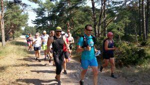 Marko Krapu i turkos löpskjorta leder en grupp stiglöpare på en sandig, kullerstensbeklädd väg på Örö.